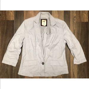 Anthropologie Elevenses blue gray blazer jacket 4